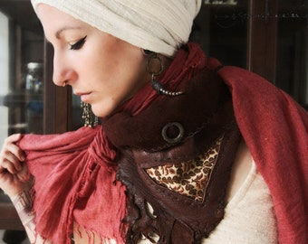 The Hearts Warm Embrace  Handmade brown elk leather textile cotton scarf neck crowl scarf wrap