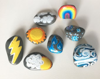 Hand painted Weather Stones/Nature Toy/Children Natural Plaything/Smooth Rocks/Learn about weather