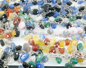 STONE Pendants  on  Chain.  Stone Charms. Stone Bracelet Bead Lot No.0030