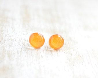 Tangerine Itty Bitty Dots Stud Earrings - bright orange earrings - Hypoallergenic Surgical Stainless Steel Post Earrings