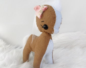 Mini Tan, White and Pink Floral Felt Pony Plushie Toy