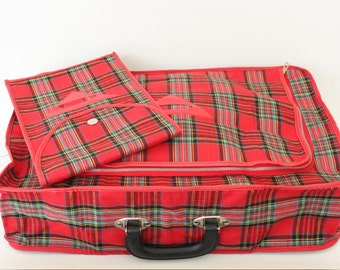 Vintage Red Plaid Collapsible Travel Suit Case