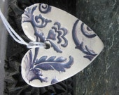 Purple and White Brocade Heart Ornament