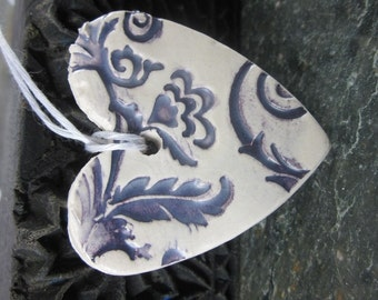 Purple and White Brocade Heart Ornament