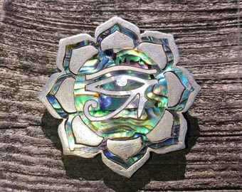 Eye of Ra/Horus abalone and pearl inlay silver pendant