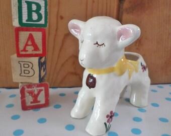 Hand Painted Ceramic Lamb Planter Nursery Decor