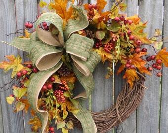 Fall Wreath, Fall Berry Wreath, Fall Leaf Wreath, Fall burlap in Green
