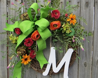 Monogram Wreath, Wreath for Spring / Summer, Wildflower Door Wreath, Spring / Summer Wreath with Monogram Letter, Etsy Wreath