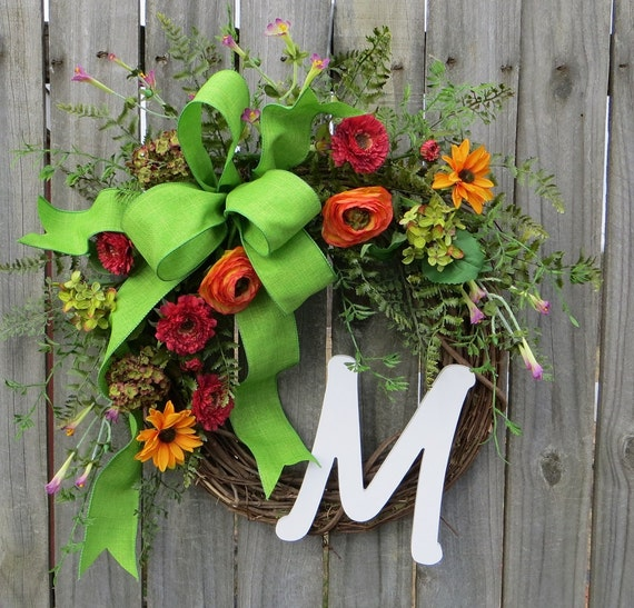 Monogram Wreath, Wreath for Spring / Summer, Wildflower Door Wreath, Spring / Summer Wreath with Monogram Letter, Etsy Wreath