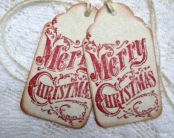 Merry Christmas Tags Vintage Look