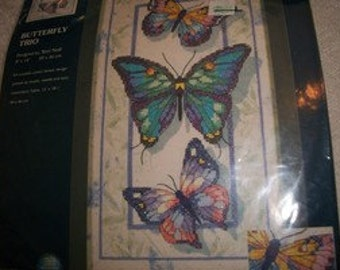 Butterfly Stamped Cross Stitch Kit: Comes with Thread, Design Printed on Muslin,