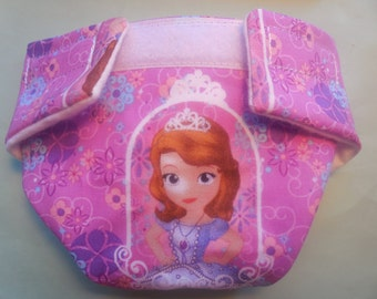 Cloth Doll diaper SIZE #2 READY to SHIP Sofia The First adjusts fits bitty baby alive cabbage patch fur real monkey stuffed animals & more
