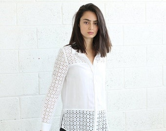 Summer SALE Buttoned Embroidered Shirt-Embroidered White blouse .