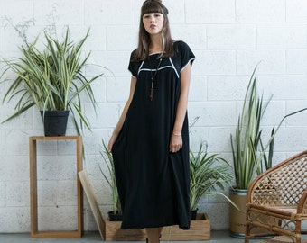Oversized dress, Embroidered Cotton Maxi dress, Black.