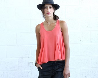 Halloween Sale Flare Tank Top, Coral