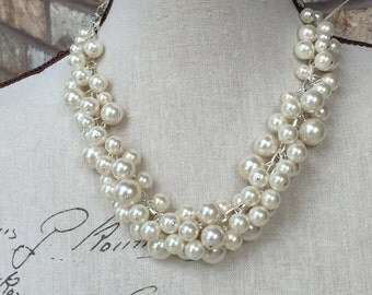Cluster ivory pearl necklace. statement necklace, wedding jewelry, chunky pearl statement necklace