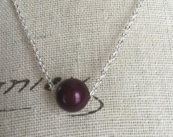 Blackberry colored floating Pearl, floating Pearl necklace