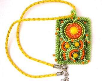 Abstract jewelry, Bead embroidered necklace, Pendant necklace, Beaded jewelry, Art to wear, Green orange yellow