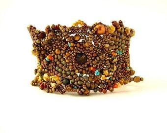 RESERVED - Brown Beaded bracelet for womens, Unique bead bracelet, Art beadwork, Beaded jewelry
