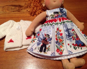 "RESERVED  Beautiful dress and  cardigan for 14"" Waldorf doll"