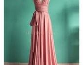 Pink Bridesmaid Dress Wrap Convertible Dress Pastel Peach Infinity Dress Maxi Dress Formal Dress Prom Evening Gown Women Plus Size Clothing