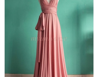 Pink Wedding Bridesmaid Dress Wrap Convertible Dress Pastel Peach Infinity Dress Maxi Dress