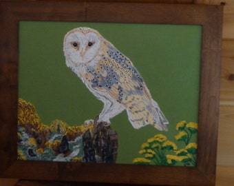 """Barn Owl Sitting on a Stump (11"""" x 14"""") Painting by the Artist [Framed]/Country/Cabin/Rustic"""