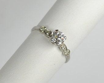 ON SALE Art Deco Platinum Diamond Engagement Ring 0.66ct