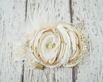 lace vintage baby headband, couture baby headband, baby headbands, headbands, girl, toddler, rosette, gold , champagne, lace, over the top