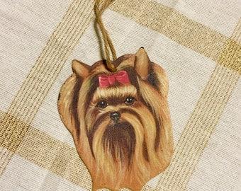 Vintage Yorkie Yorkshire Terrier Enamel Christmas Ornament