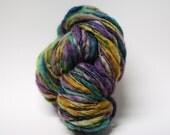 Handspun Thick and Thin Yarn Slub tts Hand dyed Self Striping BFL Silk Shambala 04