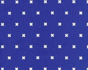 XOXO in Rashida Cobalt, Cotton+Steel Basics, Rashida Coleman Hale, RJR Fabrics, 100% Cotton Fabric, 5001-012