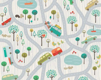 Scenic Route Travel in Gray, Deena Rutter, Riley Blake Designs, 100% Cotton Fabric, C3660-GRAY