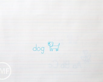 Animal ABCs Writing Paper in Baby Blue, Alyssa Thomas, Penguin and Fish, 100% Organic Cotton, Clothworks, Y-1689-1