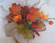 Rich Colors of Fall with Rustic Orange n Green, Berries and Lantern Flowers