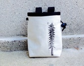 REDWOOD.. handcarved, blockprinted, rock climbing chalk bag..ready to ship.