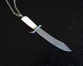 Hunting Bowie Knife Necklace - Bone Handle