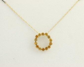 "Citrine Eternity Circle Pendant Necklace 18"" - 10k Yellow Gold Chain Women's F3878"