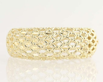 "Chunky Bangle Bracelet - 14k Yellow Gold Lattice Openwork Women's 7"" 57.9g N2761"