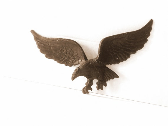 Vintage Black Eagle Wall Mount Art Plaque Or House Decor Cast