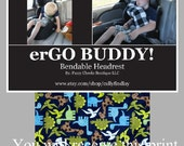 erGO BUDDY Bendable baby / toddler headrest carseat pillow and cover in Blue and Green Dinosaurs