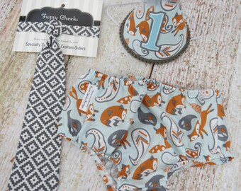 Boys First Birthday Cake Smash Outfit With Necktie Diaper Cover and Party Hat in Aqua Orange and Gray Foxes and Aztec