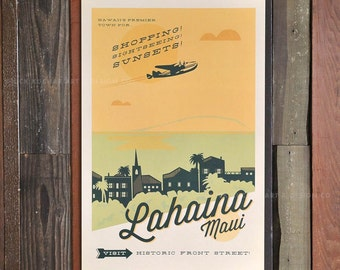 Lahaina, Maui - 12 x 18 Retro Hawaii Print