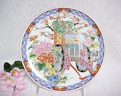 Vintage Hand Painted Plate Made in Japan, Colorful Asian Home Decor Wall Hanging, Elegant Rickshaw With Lots of Detail and Gold Trim
