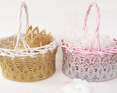 LOVECRUSH Flower girl basket || lace + wicker || small size || choose One