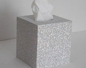 SILVER GLITTER Tissue Box Cover - Decorative Sparkling Silver