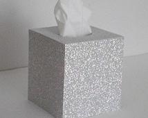 SILVER GLITTER Tissue Box Cover - Decorative Sparkling Disco Ball Silver