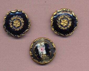 Antique Enamel Buttons - Lot of 3 - Black