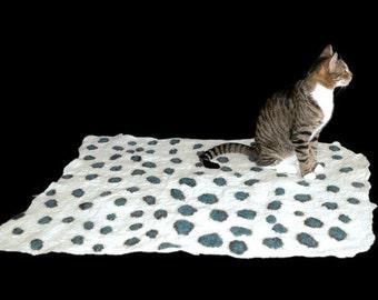 Cat Bed - Cat Mat - Blue Leopard - Pet Bed - Felted Wool Rug/Throw