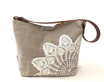 Ready to Ship Natural Linen Hobo Bag with Vintage Doily